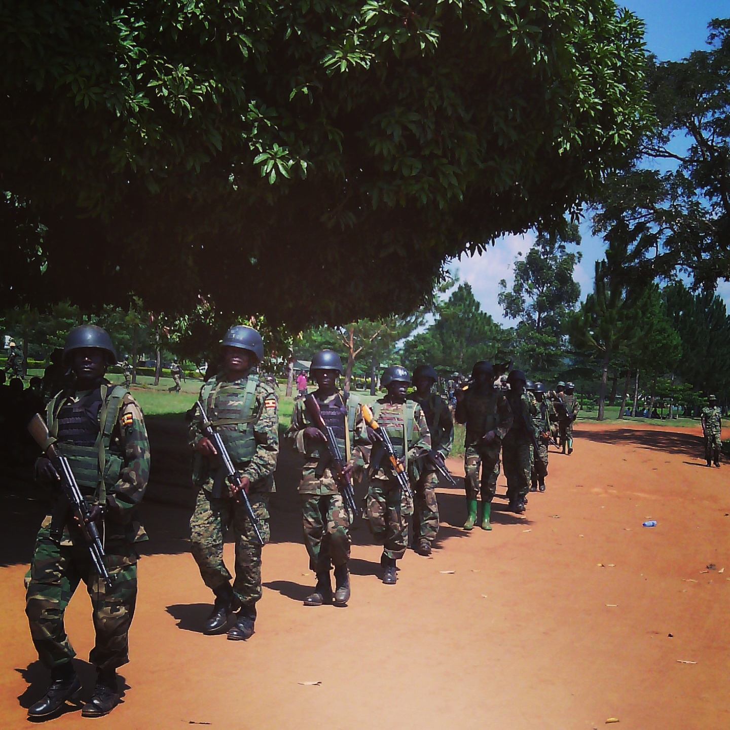 Soldiers after paintballing  with live bullets though